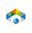 cube triangle colorful geometry logo vector image