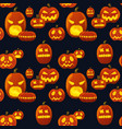 seamless pattern pumpkin lantern silhouette vector image