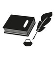 a book and a pen feather black icons vector image vector image