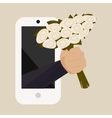 A bouquet of white roses with a hand from the vector image vector image