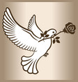 a carrier pigeon with a flower vector image