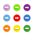 Arrow sign icon set Simple circle shape internet vector image