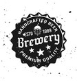 beer cap with text emblem in vintage style vector image vector image