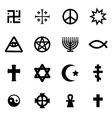 black religious symbols set vector image vector image