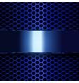 blue metallic banner geometric pattern of hexagons vector image