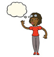 cartoon pilot woman waving with thought bubble vector image