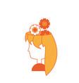 cartoon woman with gear wheels vector image