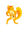 cat playing the trumpet cute musician animal vector image vector image