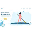 caucasian woman stand-up paddle boarding vector image