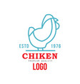 chicken premium quality logo estd 1976 badge vector image vector image