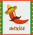 chillipepper with mustache character mexican vector image vector image