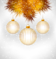 Christmas balls and pine on grayscale vector image vector image