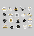 christmas winter stickers set labels and tags vector image vector image