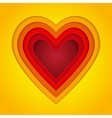 Colorful red orange and yellow paper layers heart vector image