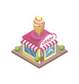 confectionery store with ice cream emblem vector image vector image