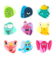 cute cartoon avatars and icons monster faces vector image vector image