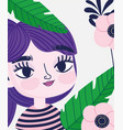 cute girl with flowers palm tropical leaves botany vector image