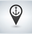 dark map pointer with anchor symbol icon isolated vector image vector image