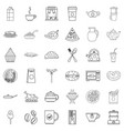 dinner food icons set outline style vector image vector image
