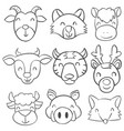 doodle of animal head style vector image vector image