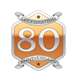 Eighty years anniversary celebration silver logo vector image vector image