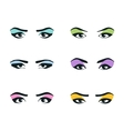 eyes icons set girl young woman or fashion vector image