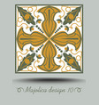 faience ceramic tile in nostalgic ocher and olive vector image vector image