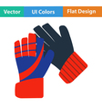 Flat design icon of football goalkeeper gloves vector image
