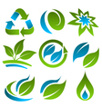 Green and Blue Energy Saving Logo Icons vector image vector image