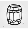 Hand drawn barrel with wine or beer isolated vector image