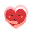happy smiling heart with hugging hands concept vector image vector image