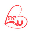 heart shaped with love lettering vector image vector image