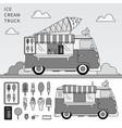 ice cream truck line monochrome vector image vector image