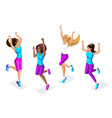 isometric set female athletes jumping running vector image vector image
