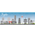 Kyoto Skyline with Gray Landmarks and Blue Sky vector image vector image