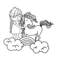 line beauty unicorn with nice girl in the rainbow vector image vector image