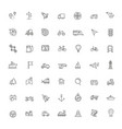 line icons set - navigation and transportation vector image