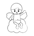 love cupid sitting in cloud cartoon vector image vector image