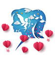 love paper angel and girl vector image