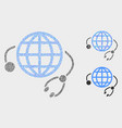 pixelated global medical service icons vector image vector image