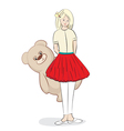 Pretty young girl with a teddy bear vector image vector image