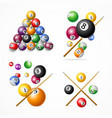realistic detailed 3d billiard set vector image vector image