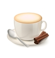 Realistic white cup filled with cappuccino vector image