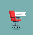 red chair in office icon with a vacant tag vector image vector image
