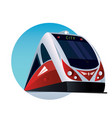 round emblem with a modern passenger train vector image vector image