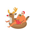santa claus on summer vacation with reindeer vector image
