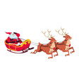 santa on sleigh with reindeers christmas cartoon vector image