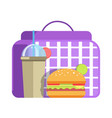 school lunch with big hamburger and cup of sweet vector image vector image