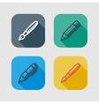 set drawing and writing tools flat icons vector image
