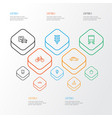 shipment outline icons set collection of train vector image